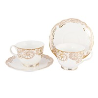 Grace Teaware Porcelain Tea/Coffee Cup and Saucer (8-Ounce, Set of 4, Gold Lace)