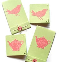 Pink Birds and Pink Tea Pots Cut Paper Mini Card Set by BeMyBee