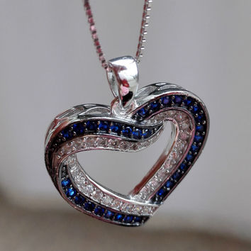 New Two Colors Heart Shape Solid 925 Sterling Silver Pendant