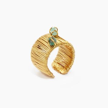 Emerald Vertical Ring - Gold