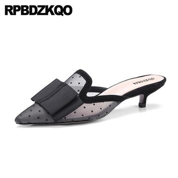 Medium Sexy Shoes Black Ladies High Heels Slipper Unique Mules Pointed Toe Bow Sandals Pumps Kitten Chinese
