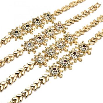 Gold Layered Fancy Bracelet, Turtle and Leaf Design, with Cubic Zirconia, Golden Tone