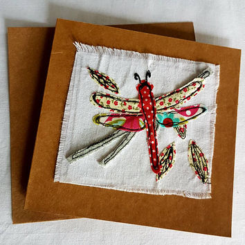 Free motion machine embroidery-Dragonfly-shabby chic-greetings card-great for all ages-birthday card- applique textiles collage