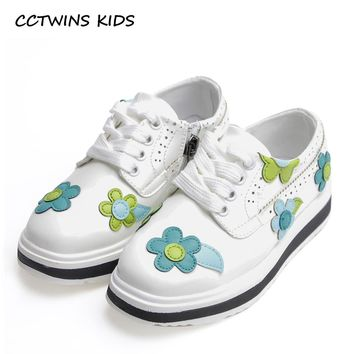CCTWINS KIDS 2017 Spring Autumn Baby Girl Flower Shoe Toddler Pu Leather Lace Up Platform Kid Black Children Fashion Shoe G1072