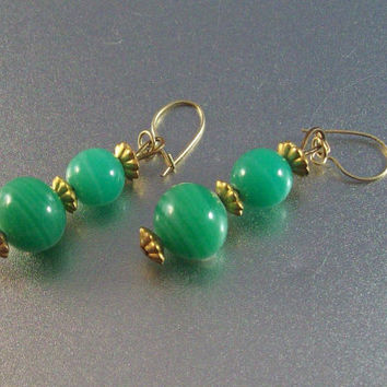 Vintage Art Deco Peking Glass Earrings, 10K Gold Wires
