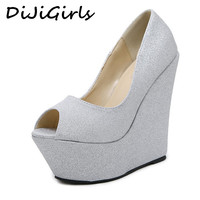 DiJiGirls Gold silver Glitter Sequined Wedge Platform High Heels Wedding Shoes Party Prom Sandals Women Fetish Shoes Dress Pumps