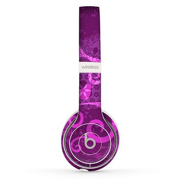 The Bright Pink & Purple Floral Paisley Skin Set for the Beats by Dre Solo 2 Wireless Headphones