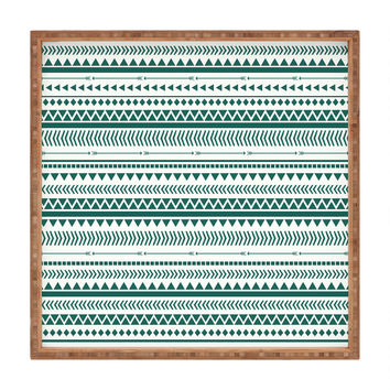 Allyson Johnson Teal Aztec Square Tray