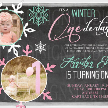 Winter ONEderland Birthday Invitation - Printable