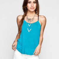 Chloe K Embroidered Strap Womens T-Back Swing Tank Teal Blue  In Sizes