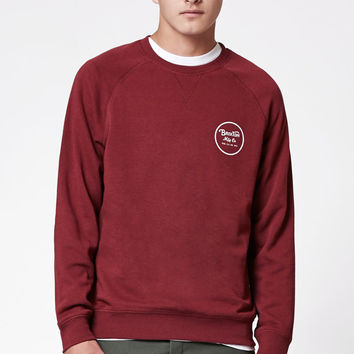 Brixton Wheeler Burgundy and White Crew Neck Sweatshirt at PacSun.com