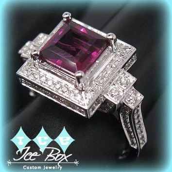 Vintage Engagement Ring 2.2ct Square Emerald Cut Rubellite Tourmaline set in an 14k White gold square diamond halo setting
