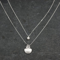 Layered Double Necklace, Dainty Silver Sea Shell and Pearl, Two Strand Necklace, Delicate Fine Chain