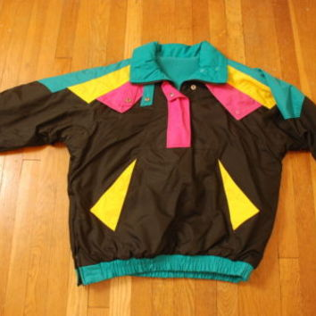 Vintage OTELLO PELLE ski 90s fleece lined black green pink Womens jacket coat M