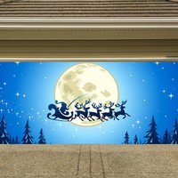 Christmas Garage Door Cover Banners 3d Santa In A Sleigh Holiday Outside Decorations Outdoor Decor for Garage Door G36