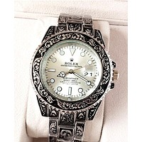 Rolex tide brand men and women personality wild quartz watch White