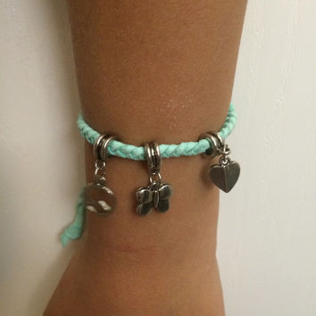 Mint, peace, love, butterfly, silver, charm, czech bead, Unisex stacked braided suede adjustable anklet, ankle bracelet, anklet meaning, ank