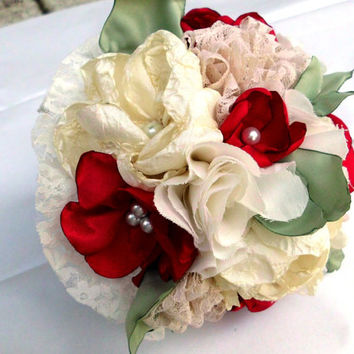 """Fabric Flower Bridesmaid Bouquet. Wedding, Custom, 8"""". Pearl, Magnolia, Lace Leaves, Mint Green, Shabby Chic, Rustic, Vintage"""