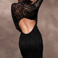 Sexy Halter the lace long-sleeved Slim Dress