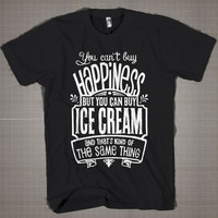 Love Ice Cream Typography  Mens and Women T-Shirt Available Color Black And White
