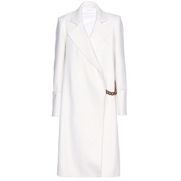 victoria beckham - wool coat with chain embellishment