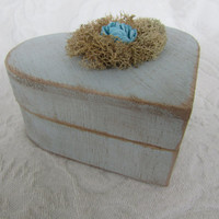 Heart Shaped Wedding Ring Box Shabby Chic Rustic Vintage ring pillow Alternative Something Blue
