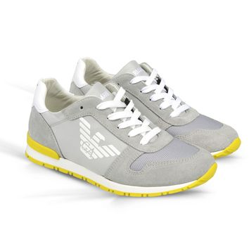 Armani Boys Grey and Yellow Sneakers