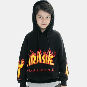 THRASHER  baby  The big boy children sweater sleeve head flame Monogrammed Hoodie