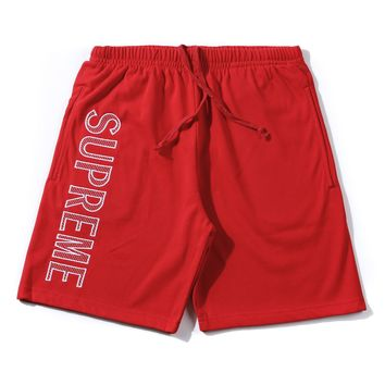 Supreme 18ss Leg Embroidery Sweat Short Red Short Pants - Best Online Sale