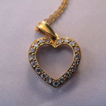 Diamond Heart Necklace -Pendant, 18k Yellow Gold with 18k Free Gold Chain - Valentine Gift