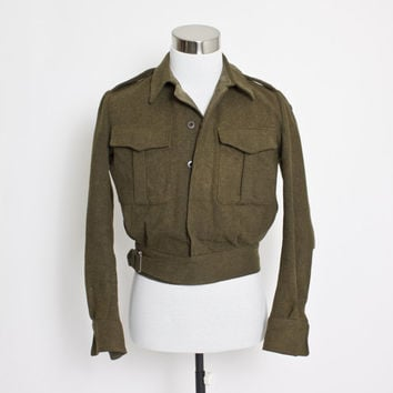 Vintage 1950s Military Jacket - Olive Green Cropped Wool Army Coat 1956 - Medium