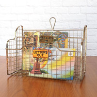 Gold Wire Hanging Letter Organizer / In Out Basket / Vintage Office Decor
