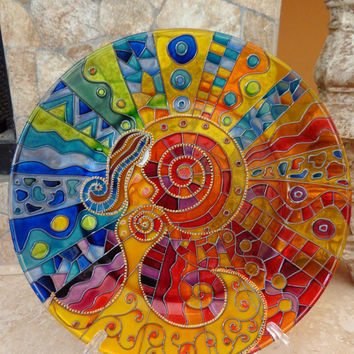 Birth. Glass Plater.  Hand painted glass.