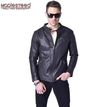 Factory Vegetable Tanned Goat Leather Jacket Men Genuine Leather Jacket Brand Casual Black Soft Mens Leather Coat Autumn ZH050