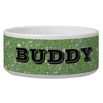 Green Sparkle Personalized Pet Food Water Bowl