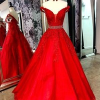 Evening Dress Beaded Red Off the Shoulder Prom Dress Appliques