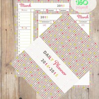 Soft Summer Printable Daily Planner 2014-2015, one week over two pages, daily planner, weekly planner, yearly planner, organizer, 8.5 by 11