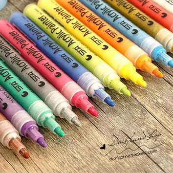 14 PCS STA ACRYLIC PAINTER PEN Color Pen Permanent Copic Art Marker Highlighter Set Drawing Art Supplies 2-3 mm