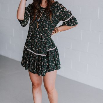 Phoebe Lace Up Ruffled Hem Dress - Teal