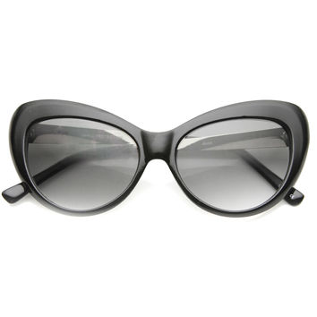 Women's Retro Round Cat Eye Sunglasses With Metal Temples 9796