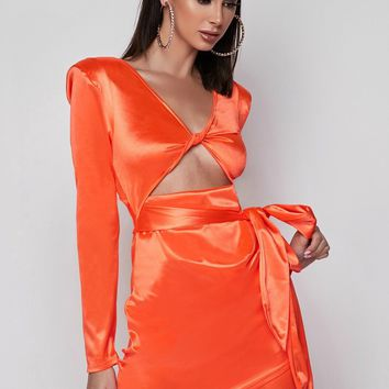 Single AF Satin Bodycon Mini Dress Neon Orange