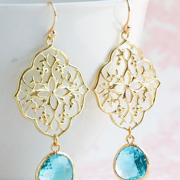 GOLD & Aqua Blue Earrings Bohemian Wedding Something Blue Turquoise Gold Lace Filigree