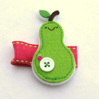 green and pink felt pear clippy- summer accessories- back to school
