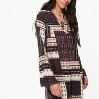 Emiko Bohemien Print V Front Shift Dress | Boohoo