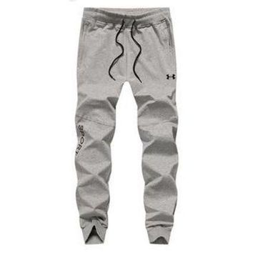 ONETOW Under Armour Spring and summer men's youth trousers Slim casual pants Gray