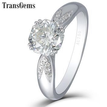 Transgems 1 Carat 6MM F Color Lab Grown Moissanite Diamond Octagon Cutting 14K White Gold 585 Engagement Ring for Women