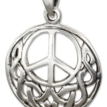 Sterling Silver Filigree Celtic Peace Sign Pendant