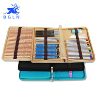 Bgln Canvas Pencils Pouch Bag 72 Holes Folded Brush Case With Zipper cartucheras para lapices Pocket Art Supplies