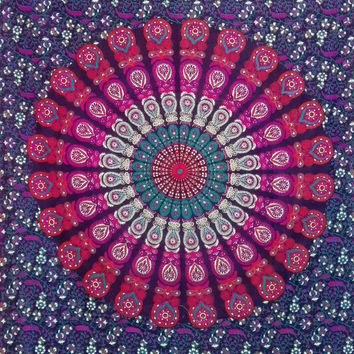 Wall hanging tapestry, Spiritual, meditation, yoga mat, mandala, home decor, boho bohemian hippie ethnic style, bedsheets, bedspread