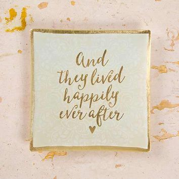 Happily Ever After Square Glass Tray